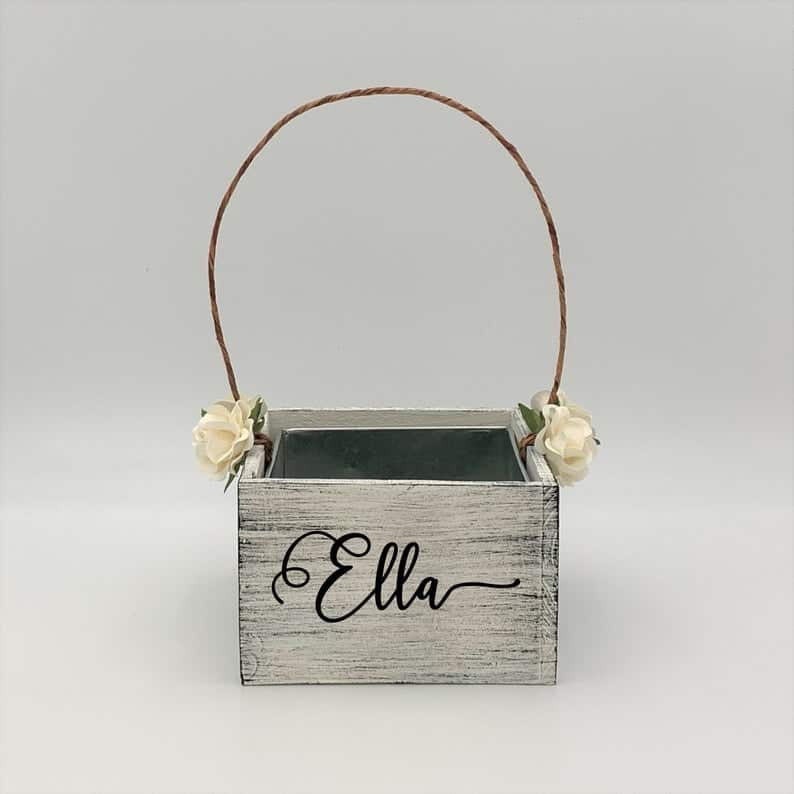 personalized flower name basket