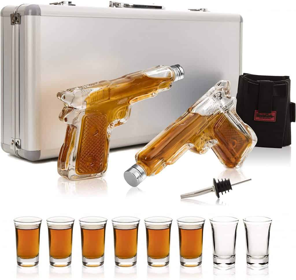whiskey decanters shot glasses
