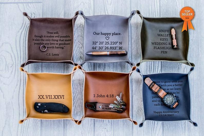 cool groomsmen gift ideas - leather valet tray
