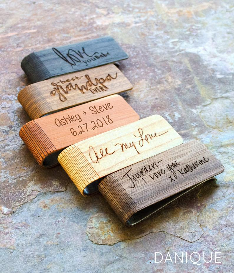 groomsmen gift ideas - wood money clip engraved