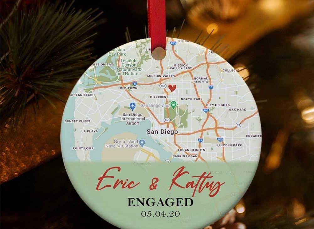 Custom Map Engagement Ornament