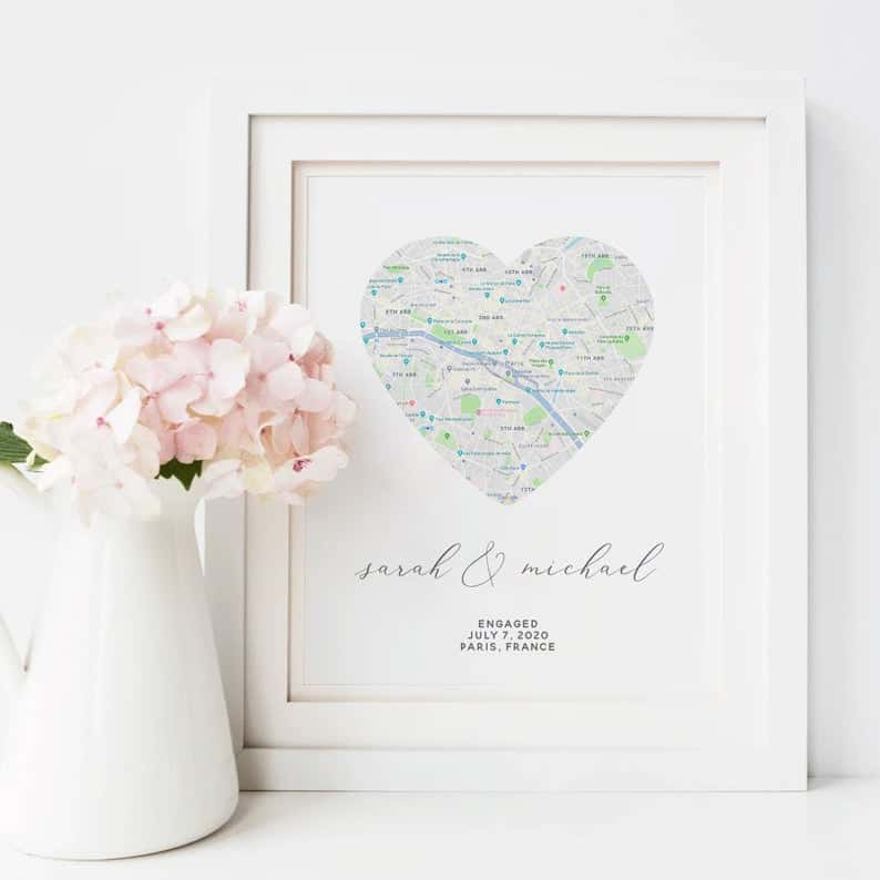 engagement party gifts:Engagement Map Print Gift
