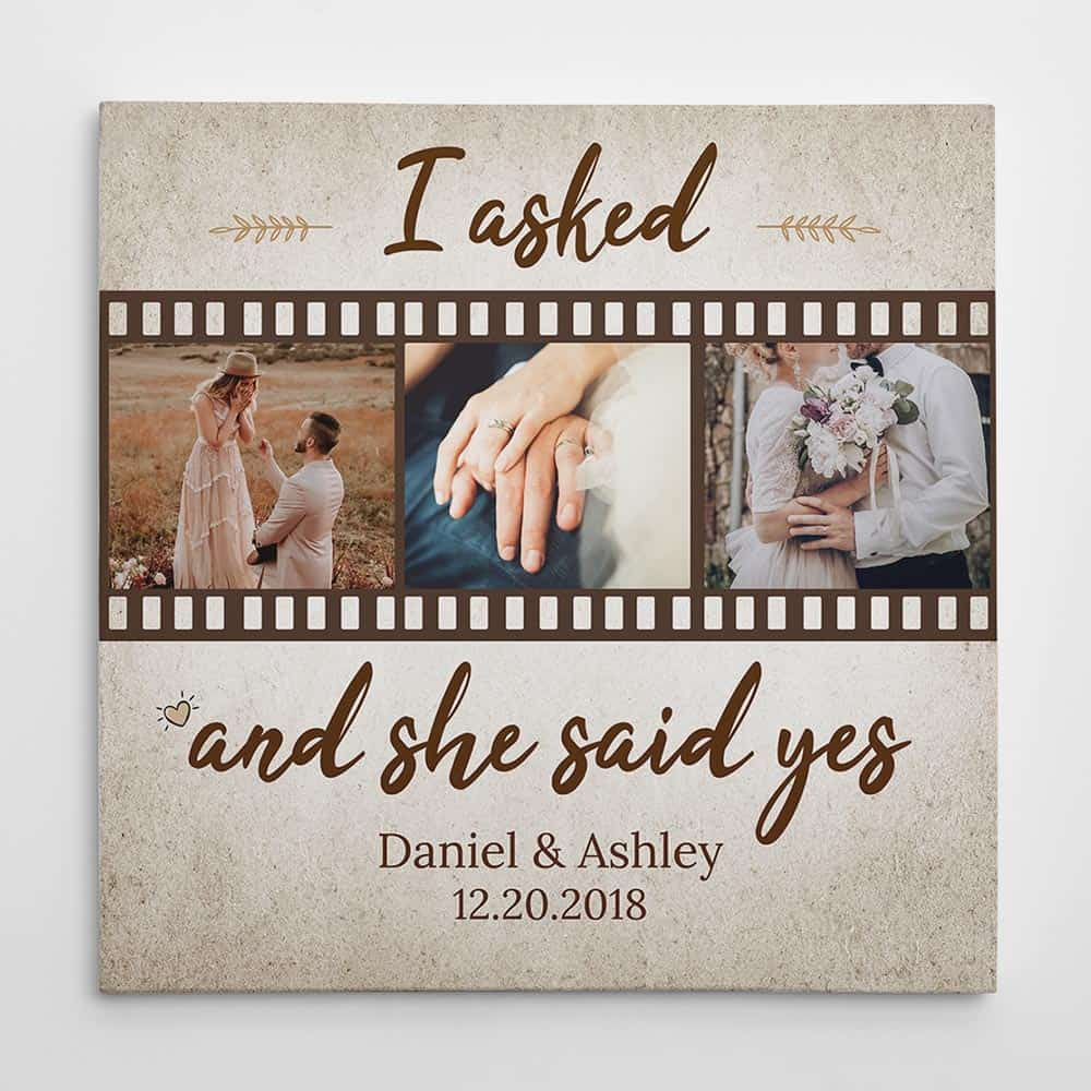 He Asked and She said YES – Anniversary Custom Photo Canvas