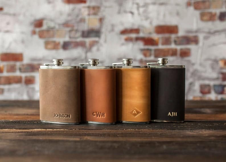 cool engagement gifts:Leather Hip Flask Personalized