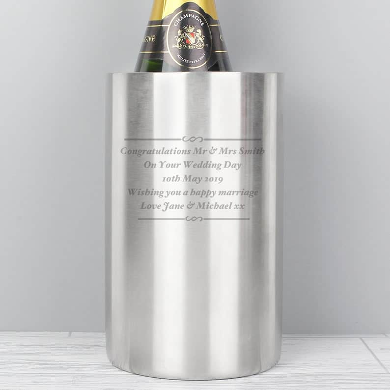 personalized engagement gifts:Personalised Wine Cooler Any Message