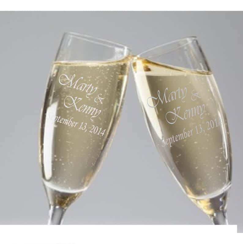 engagement present:Personalized Champagne Flutes