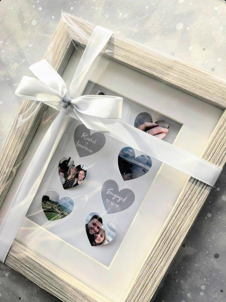 gifts for newly engaged couple:Unique Engagement Heart Flutter Frame