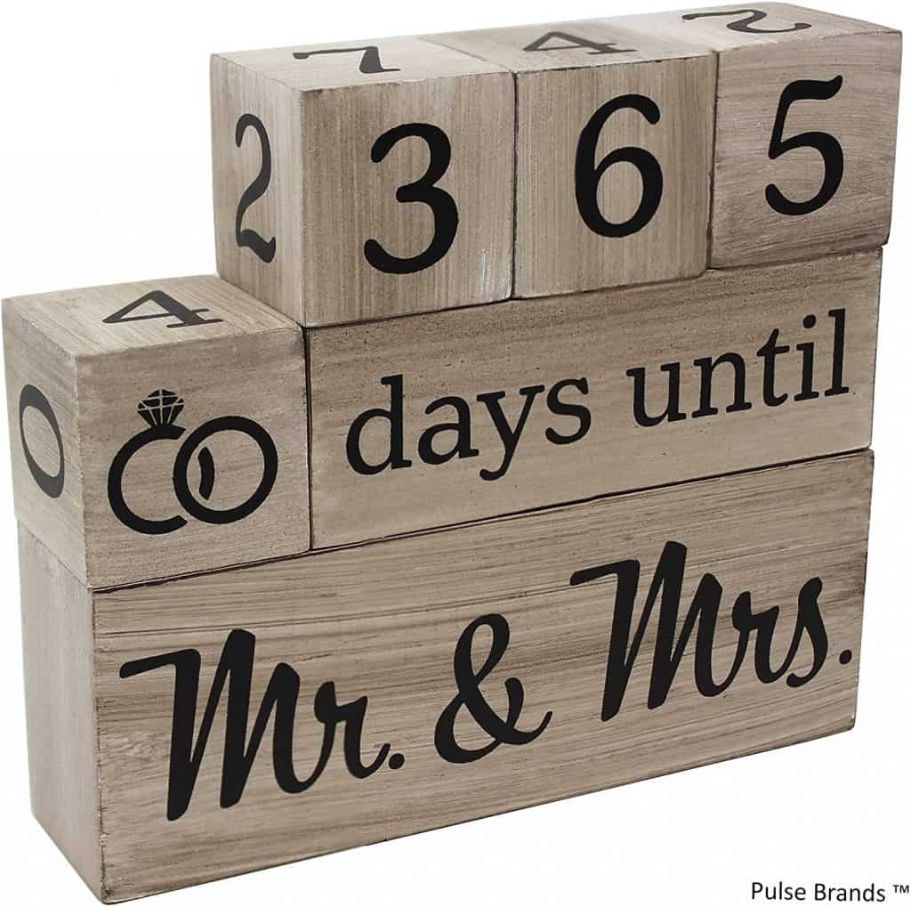 Wedding Countdown Calendar Wooden Blocks
