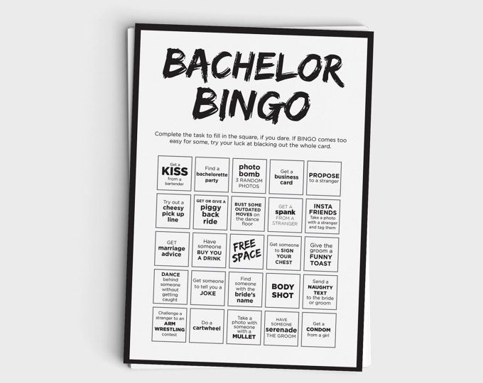 fun bachelor party games - bingo