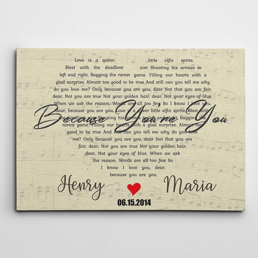heart shape song lyrics - personalized wedding gifts