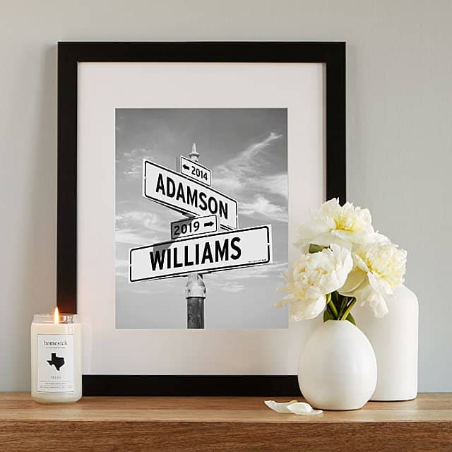 personalized wedding gifts - intersection of love