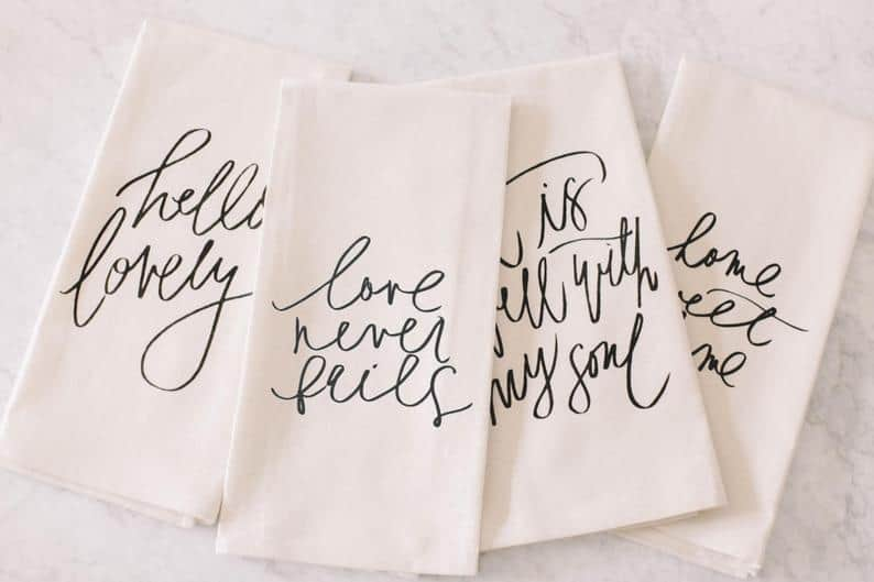 wedding favor ideas - tea towels
