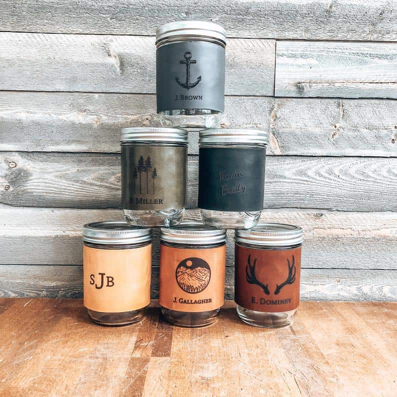 custom leather mason jars