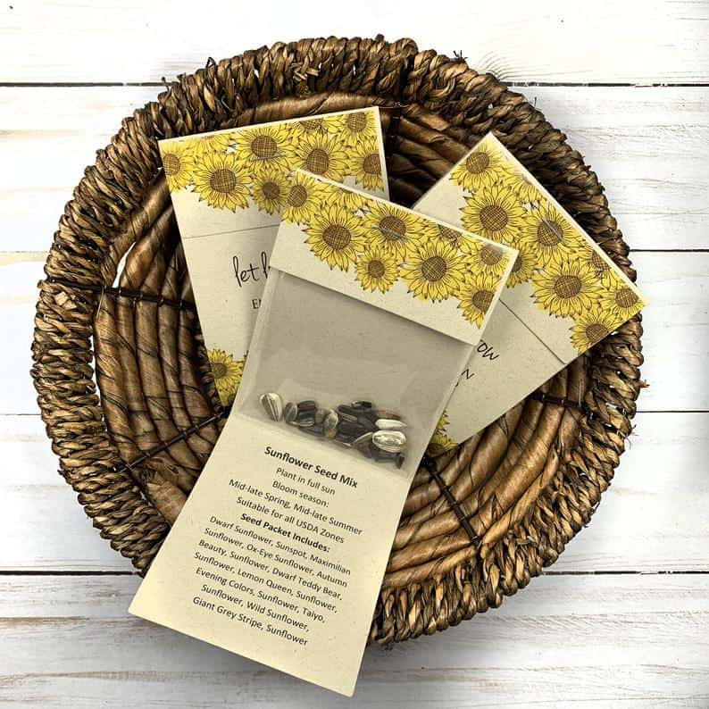 personalized wedding favors - sunflower seed packets