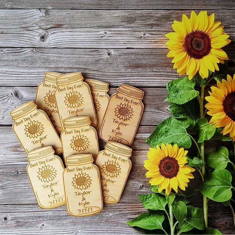 Mason Jar with Sunflower magnets