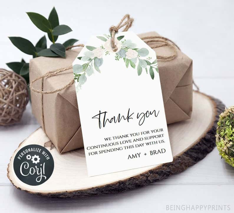 wedding favor ideas - thank you tags