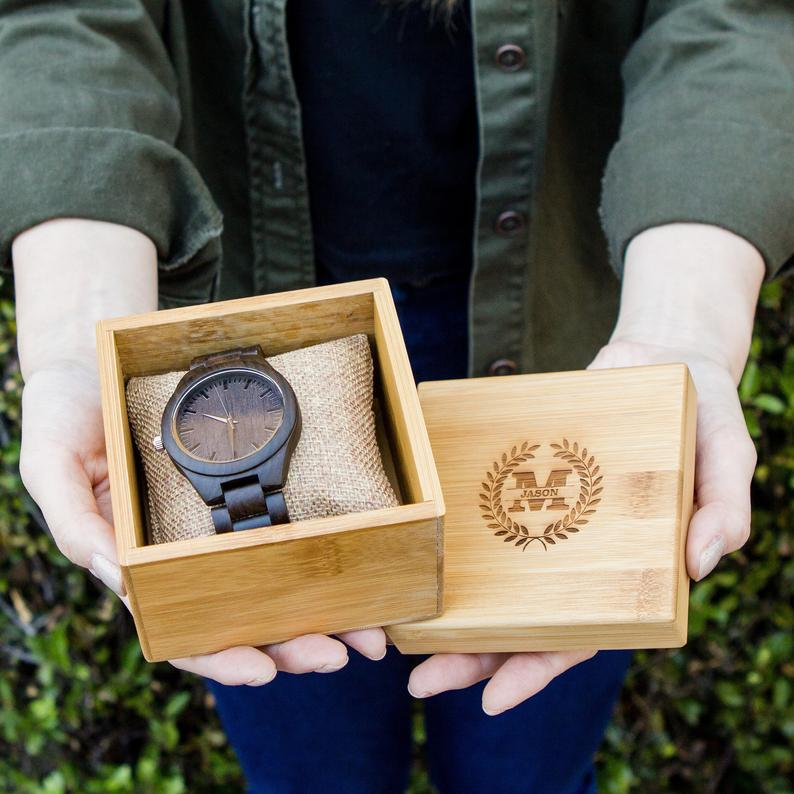 wedding gift - engraved wood watch