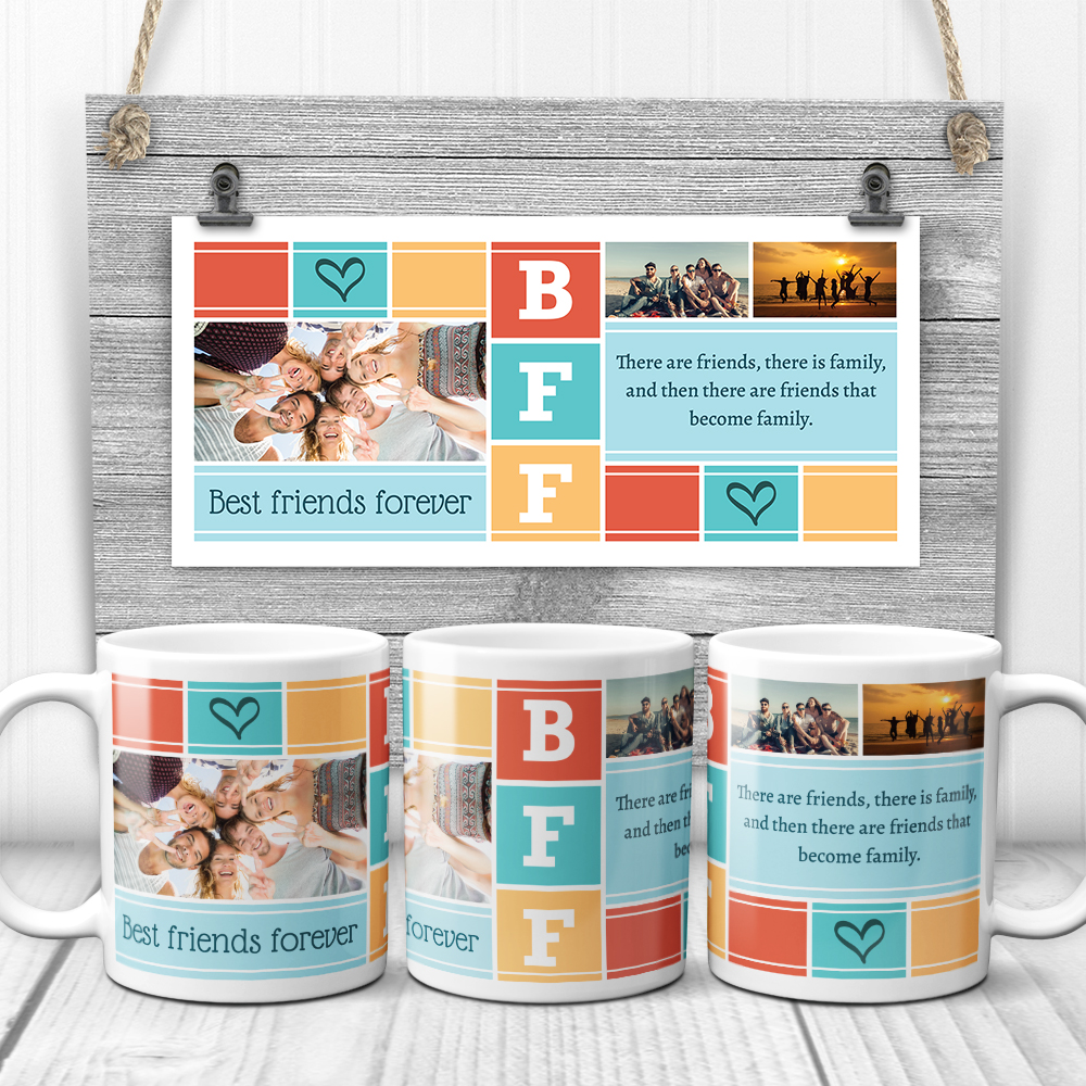 BFF There Are Friends There Is Family Photo Collage Mug