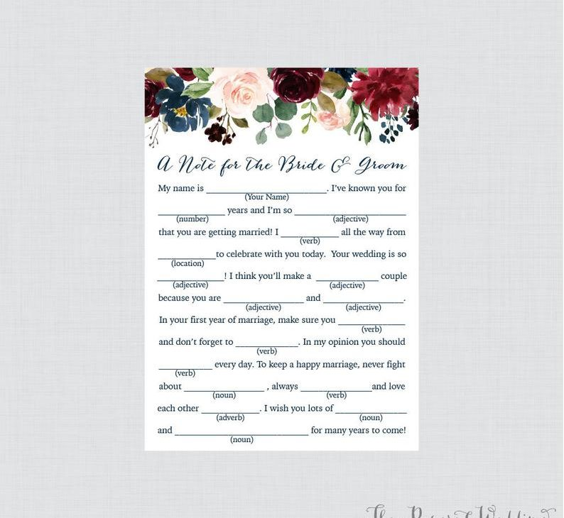 printable bridal shower card:Mad Libs-Inspired Word Game