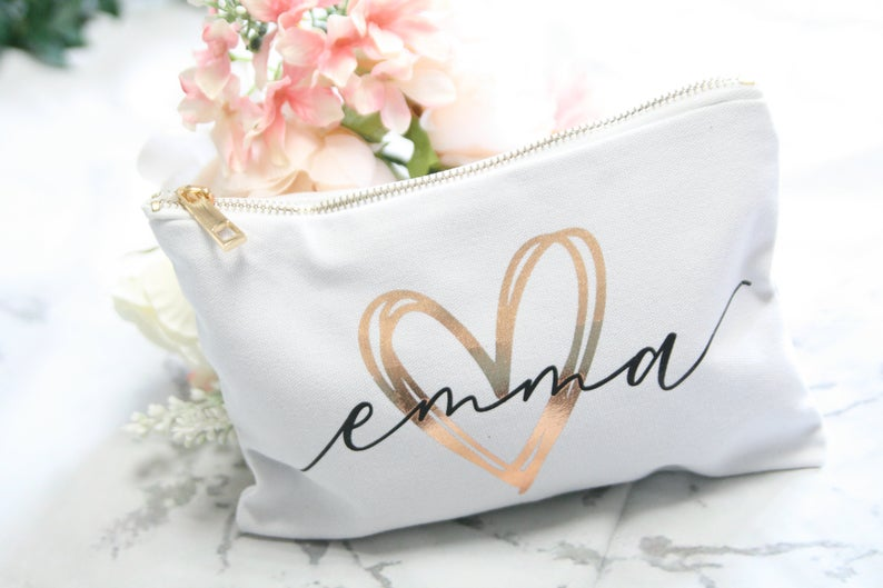 personalized bridal shower gift:Personalized Makeup Case