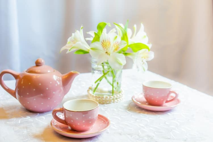 pink bridal shower themes:Tea Party Bridal Shower