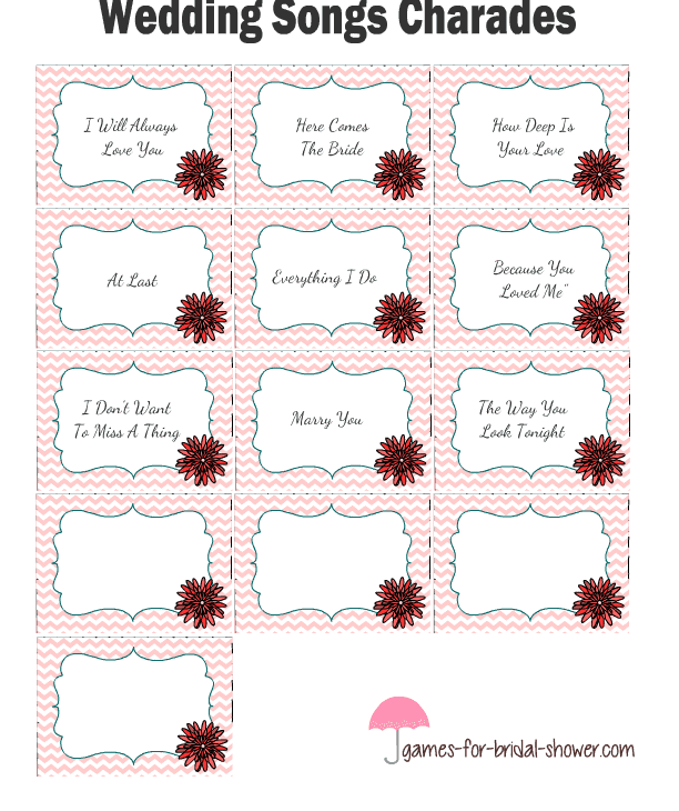 bridal shower game templates:Wedding Songs Charades