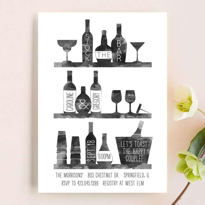 Stock-the-Bar–Themed Couple's Shower - Bridal Shower invitation wording