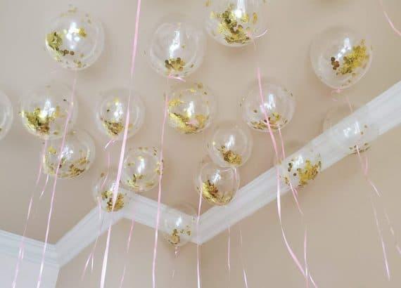 party decoration ideas:5 Gold Confetti Balloon