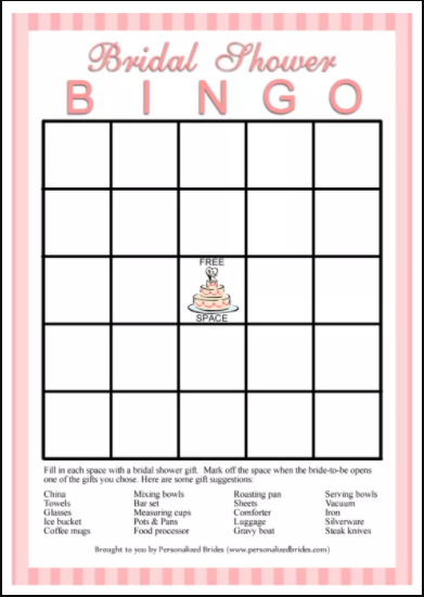 bridal shower bingo template: gift-bingo