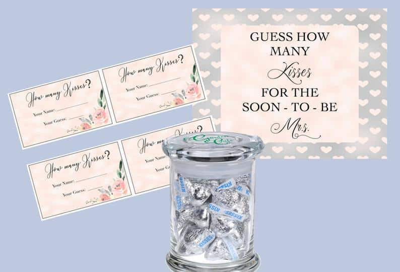 games for newly married couple:How Many Kisses in the Jar?