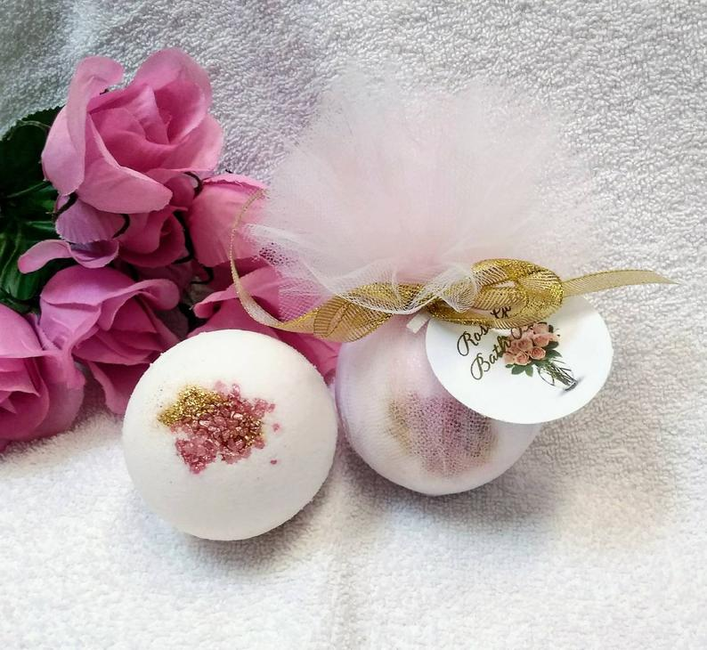 bridal shower prize gift ideas:Rose Gold Bath Bomb