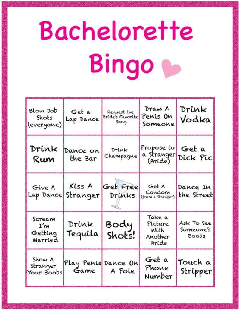 bachelorette party games - bingo game