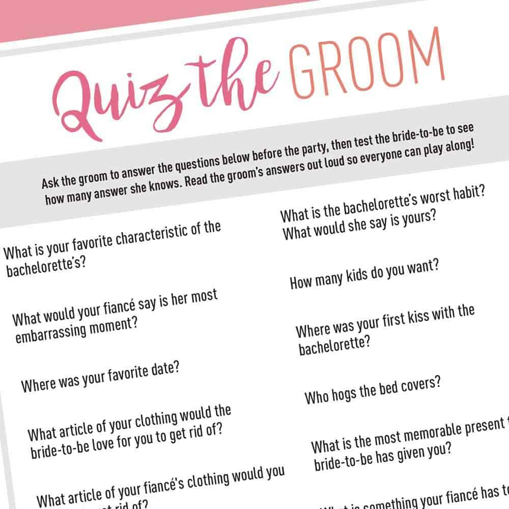 bachelorette party games - quiz the groom