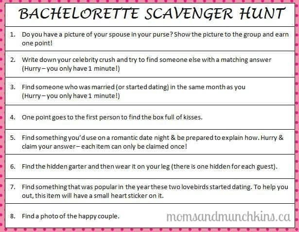 Bachelorette Party Ideas - Have A Scavenger Hunt