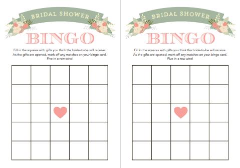 bridal shower bingo template