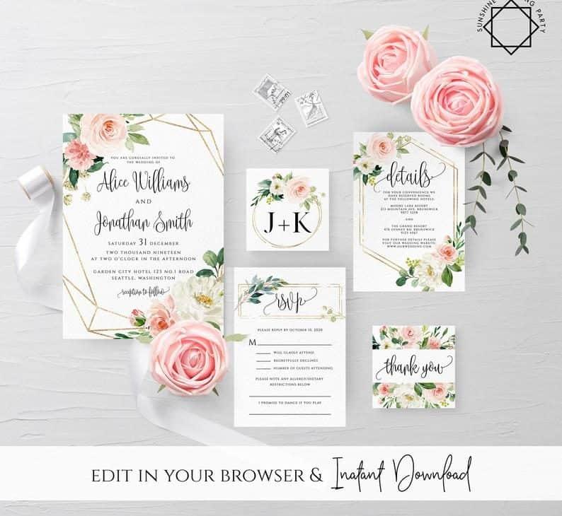 Blush Flower Invitation set