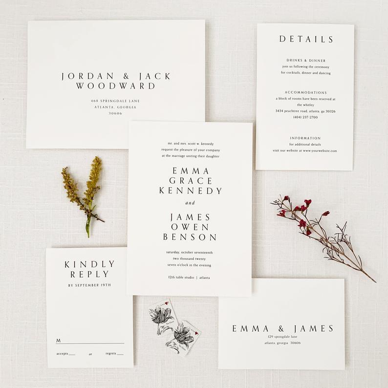 sample wedding invitation:Minimal Invitation Sample Set