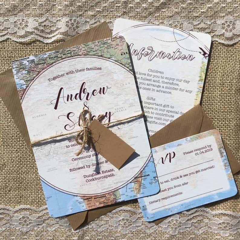 uniques wedding invitations:Travel Maps Themed