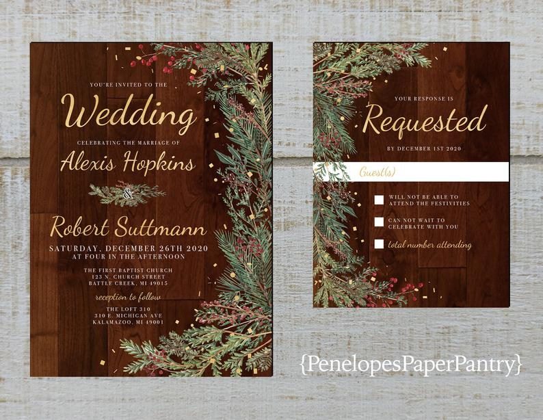 exclusive wedding invitations:Winter Wedding