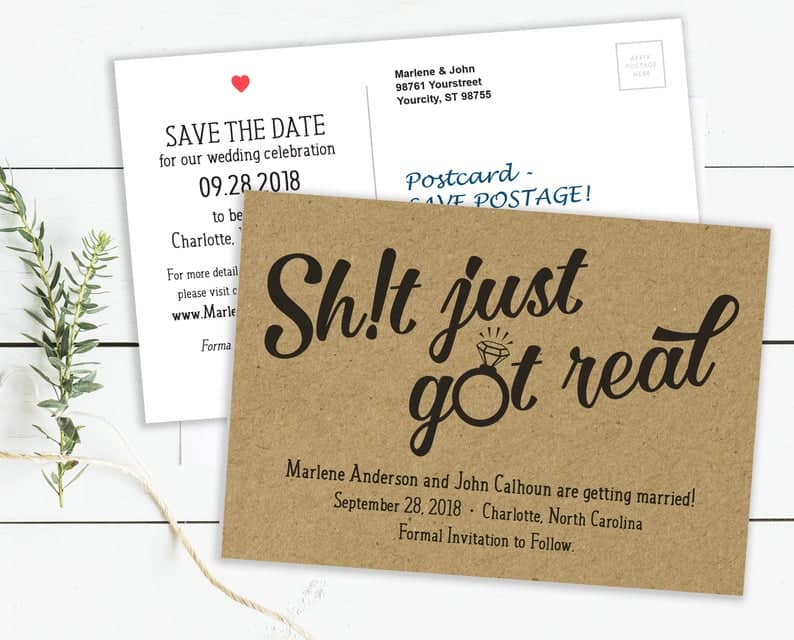 Save the Date Postcards Shit