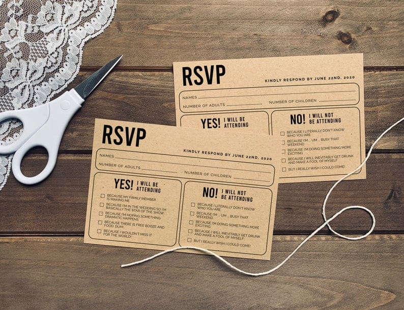 Funny Printable Wedding RSVP Card - funny wedding invitations