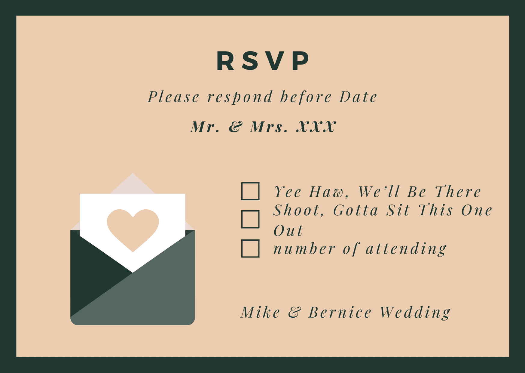 rsvp card for wedding - country style