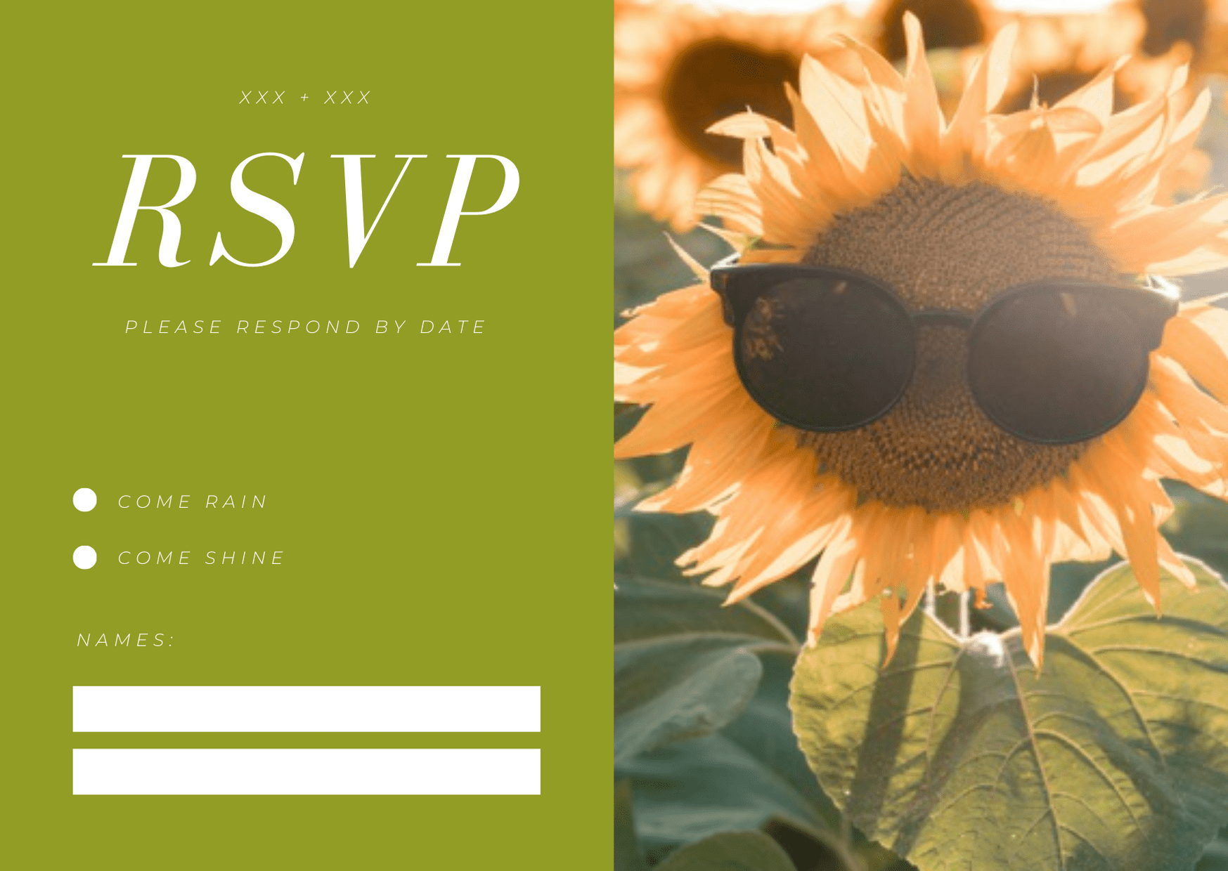 rsvp card for wedding - summer style