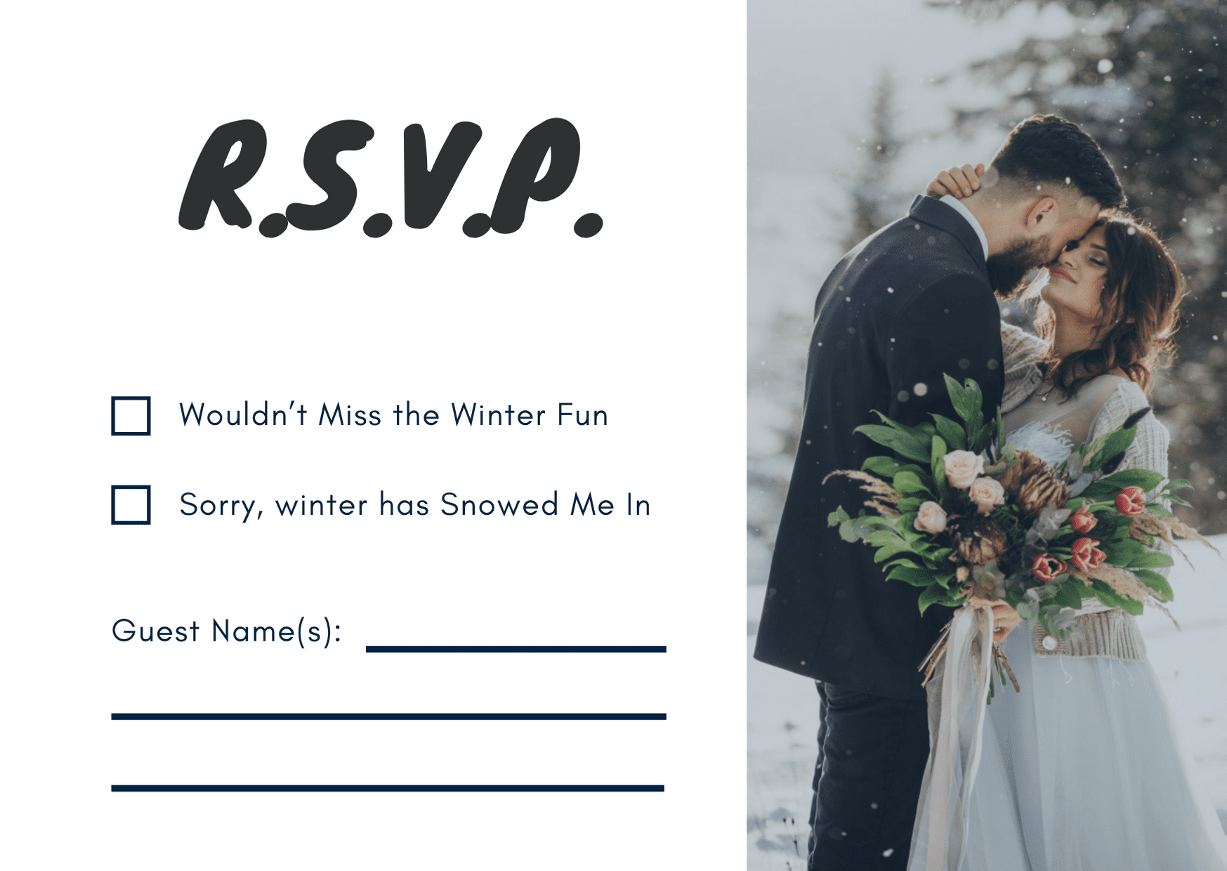 wedding rsvp card - winter style