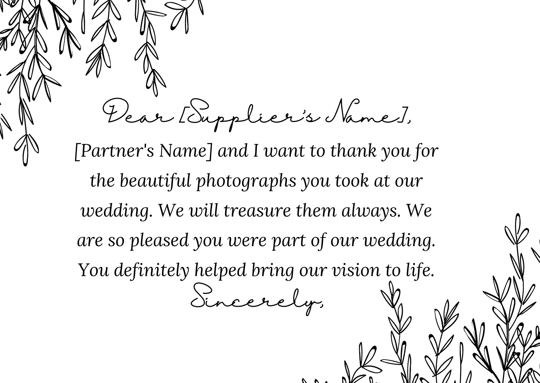 wedding thank you card wording - To Your Wedding Suppliers