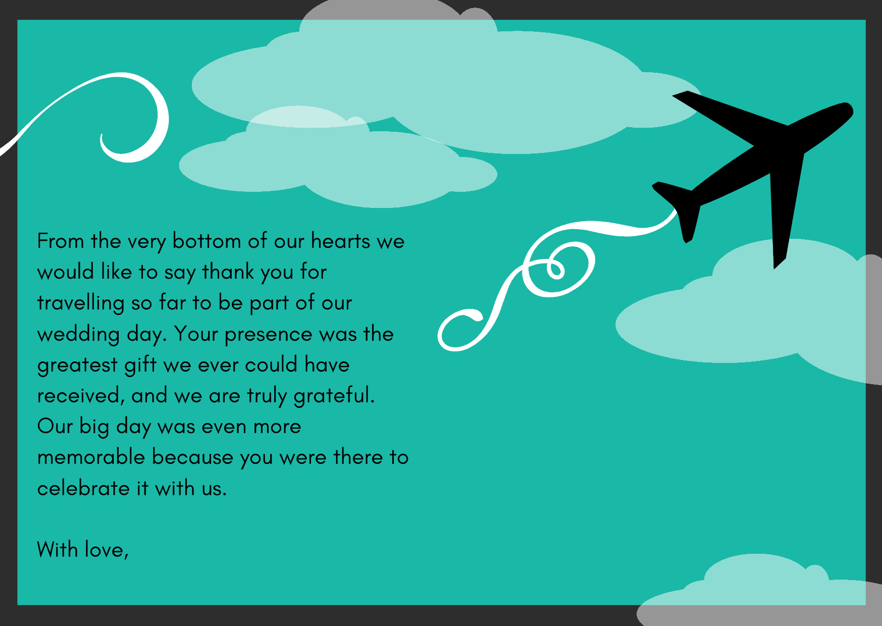 To Guests Who Have Traveled Far - thank you note wording