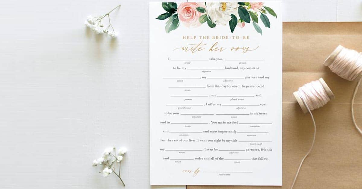 wedding vow Mad Libb With Your Guests