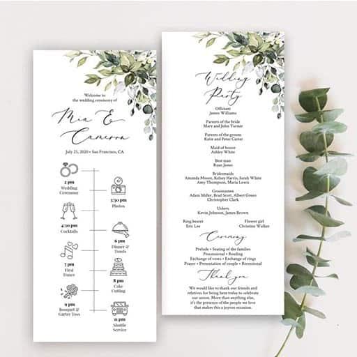 Greenery Wedding Timeline