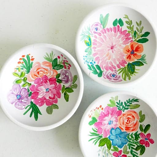 diy wedding gifts for newlyweds:Hand-Painted Wooden Bowls