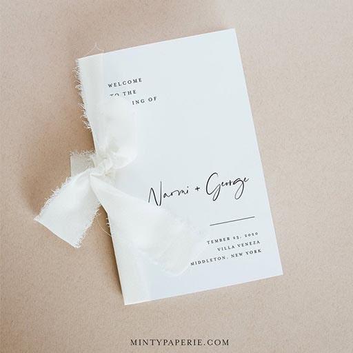 simple wedding ceremony program:Love Minimalist